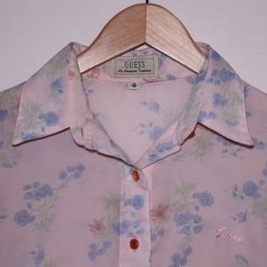 Vintage Guess Sheer Floral Button Down 0